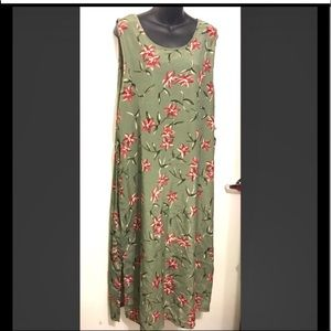 NWT Summer Floral Dress. Olive / Red. Size XL/16
